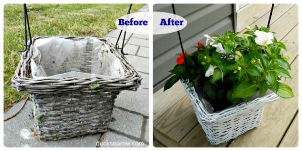 planter, flowers, patio, basket