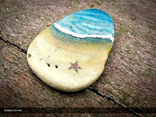Ocean view with star fish painted on a rock!