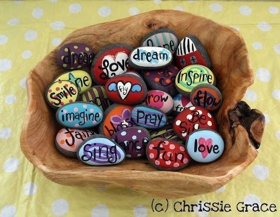 Words of hope and inspiration painted on rocks - give as a sign of friendship