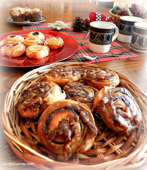 Brunch party for the holidays with lots of sweet rolls and coffee