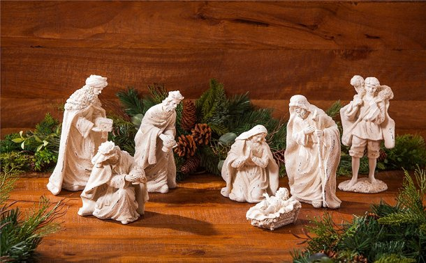 Lovely 7 piece rustic white nativity scene #ad