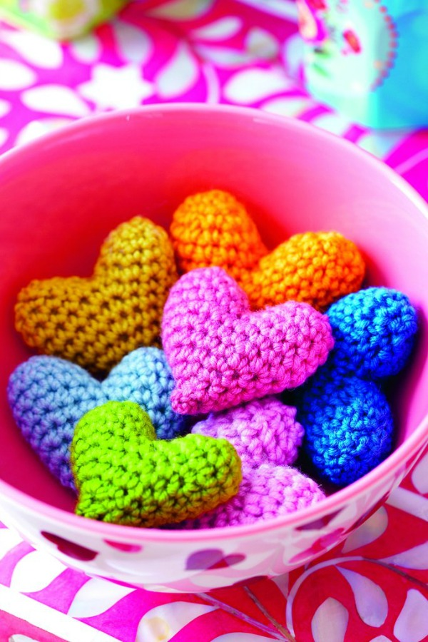 Adorable colorful Amigurumi crocheted hearts