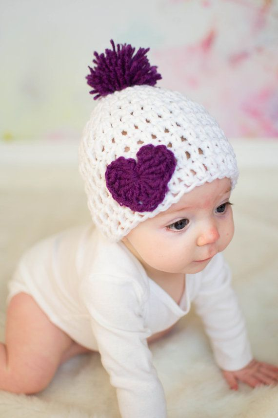 Sweet crocheted baby hats with hearts