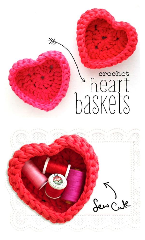 Crocheted heart shaped storage baskets