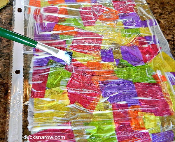 Modge podge covered sheet for suncatchers #crafts