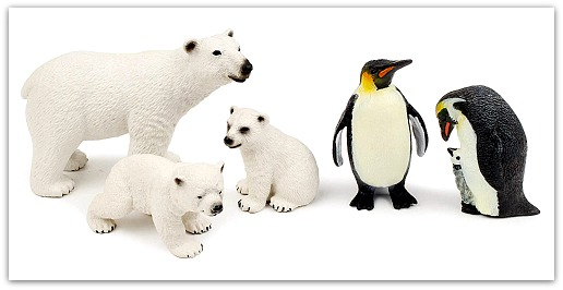 Toy figurines - polar bears and penguins #ad