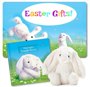 Easter gifts for kids #ad - personalized book, cute plush toy bunny and placemat, too!