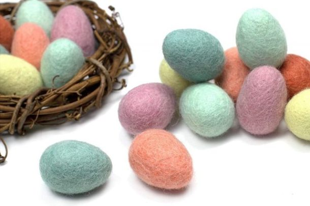 Felted colored Easter eggs for home decor #ad