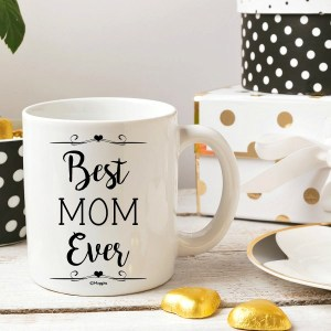 Best Mom Ever gold and white coffee mug #ad