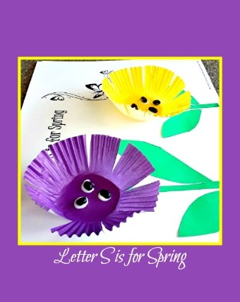 S is for Spring cupcake liner craft for #kids