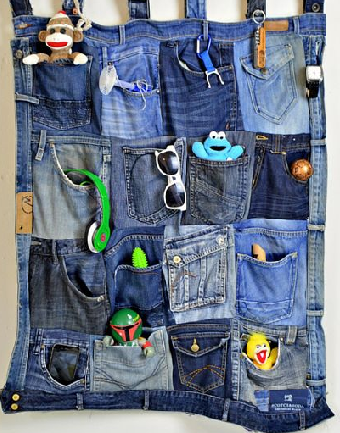 DIY denim pocket organizer
