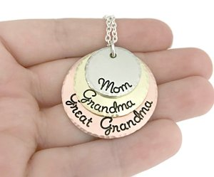 Hammered jewelry necklace for that lady who is mom grandma and greatgrandma too #ad