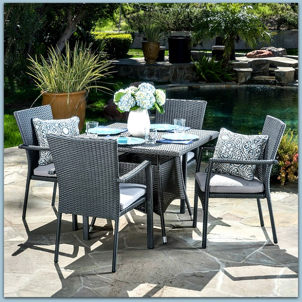 Lovely 5 piece steely blue wicker set - perfect for patio or deck #homedecor #affiliate