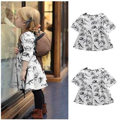Cartoon print dinosaur dress for baby girls #affiliate