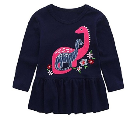Dinosaur applique top for baby girls #affiliate