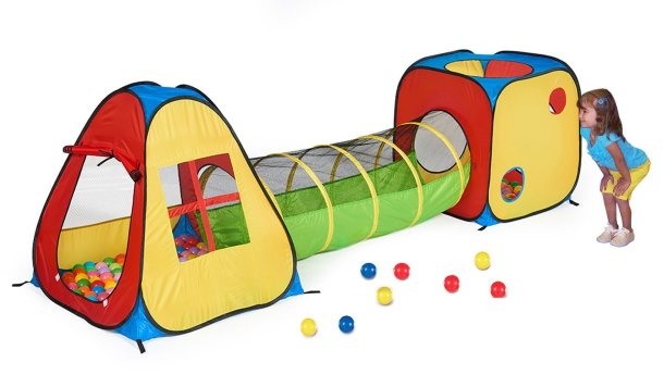Fun indoor-outdoor play tunnel with ball pit for #kids #ad