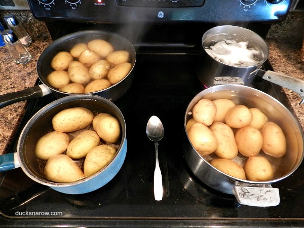 Mom's homemade potato salad in the making