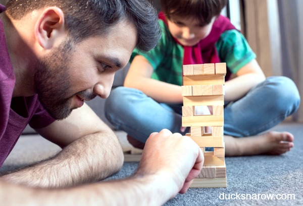 Father and son playing Jenga together #familyfun