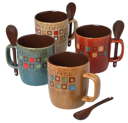 Decorative coffee mug set with spoons #gifts #coffee #affiliate