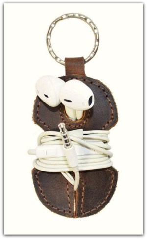 Leather key chain earbuds wrap #ad
