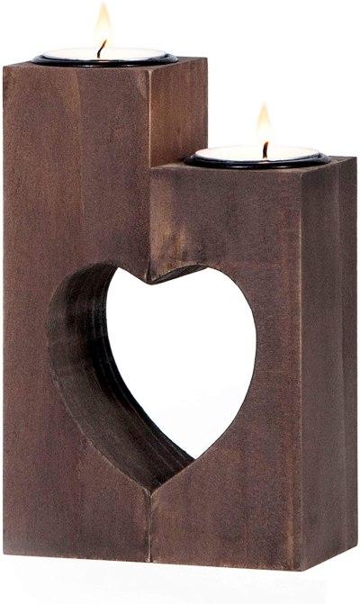 Handmade wooden heart cutout wooden tealight candle holder #ad
