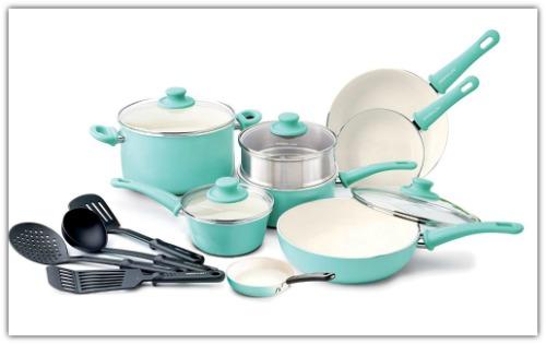 Ceramic nonstick cookware set #ad
