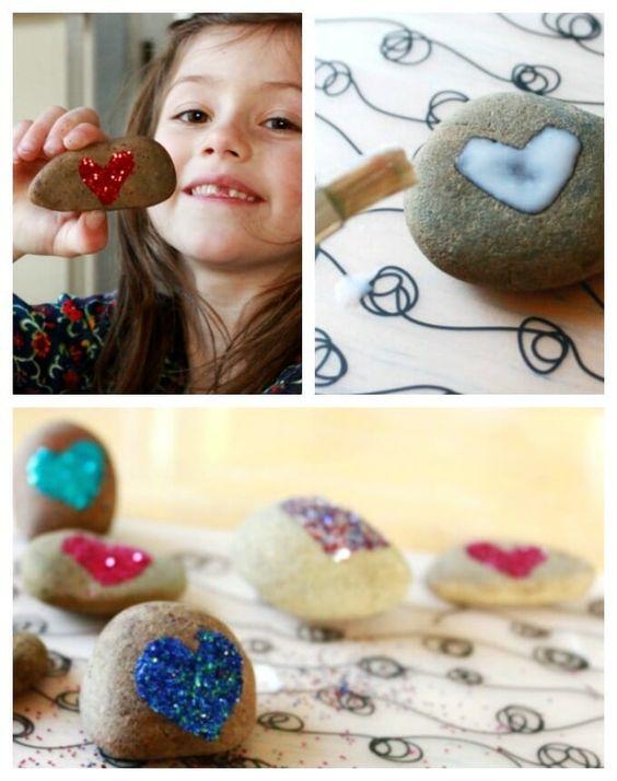 Glitter valentine rock craft for #kids