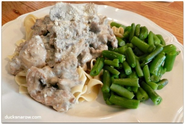 Ground beef stroganoff on noodles with Parmesan cheese #dinner #recipes