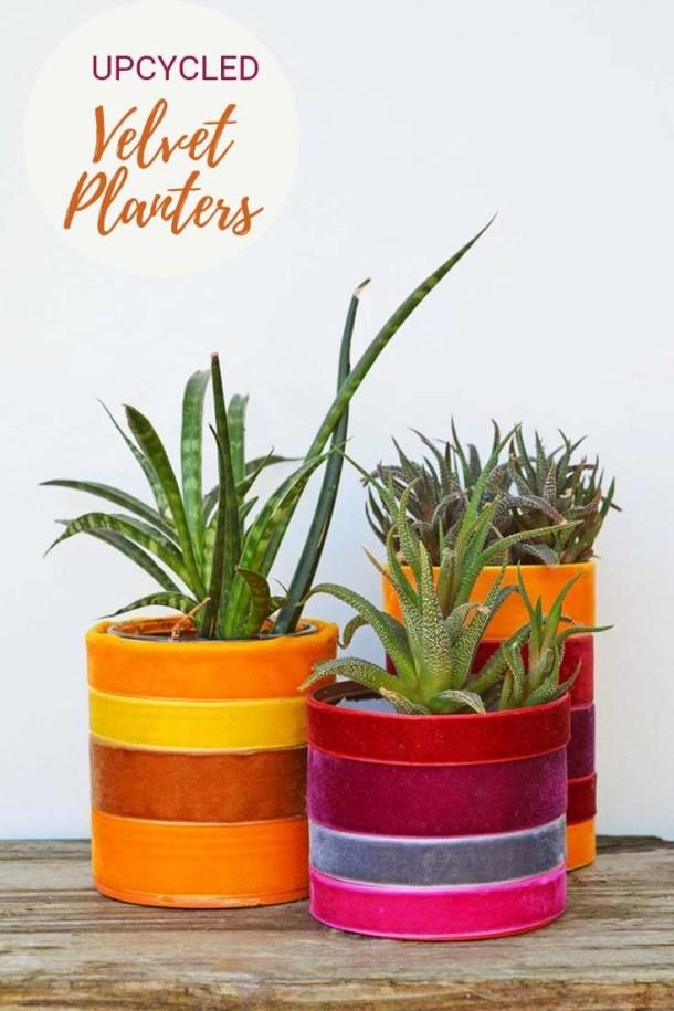 Upcycled velvet planters by Pillar Box Blue