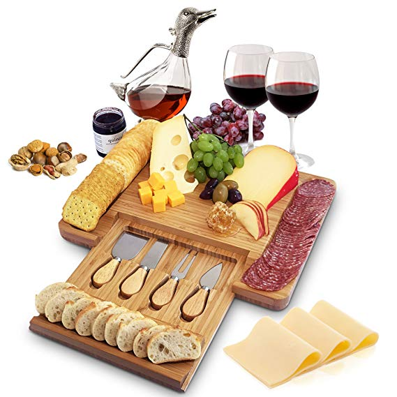 Awesome bamboo cheeseboard and cutlery with sliding drawer #entertaining #food
