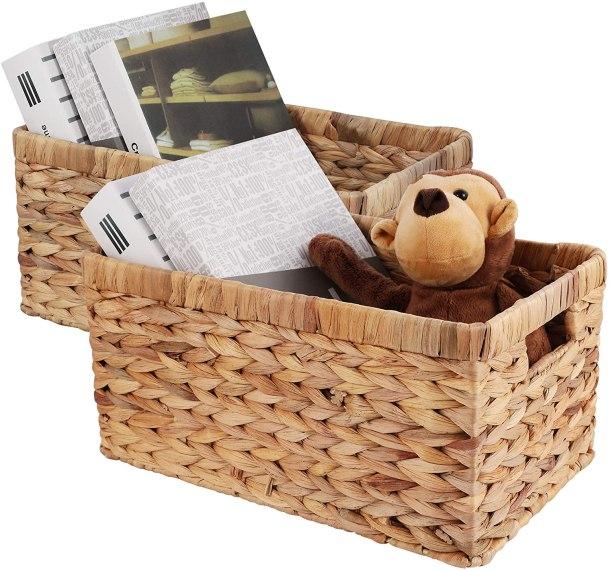 set of 2 wicker storage baskets