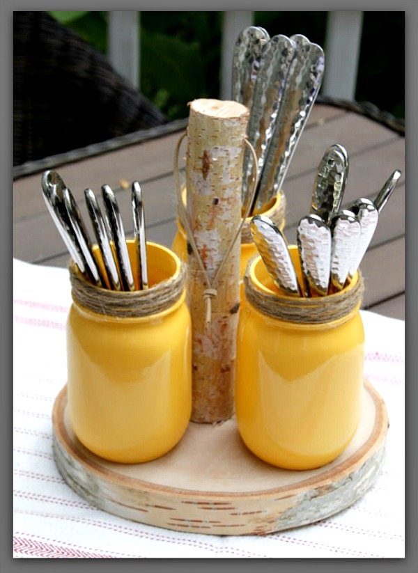 DIY silverware holder mason jars #crafts