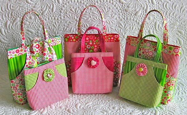Mini DIY tote bags #sewing #crafts