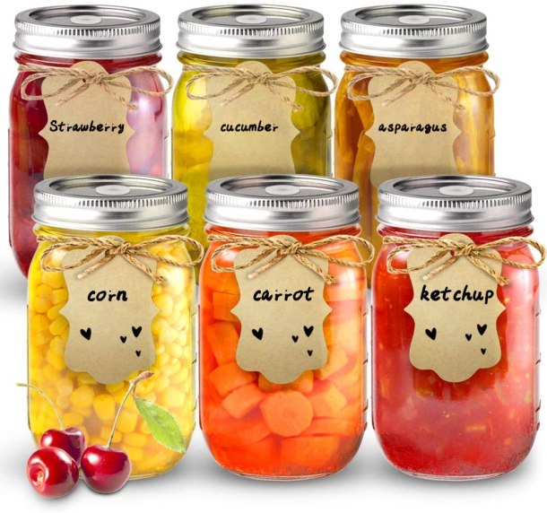 Canning mason jars with tags #ad