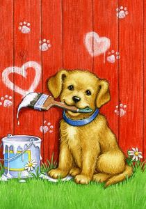 Painter puppy garden flag #ad