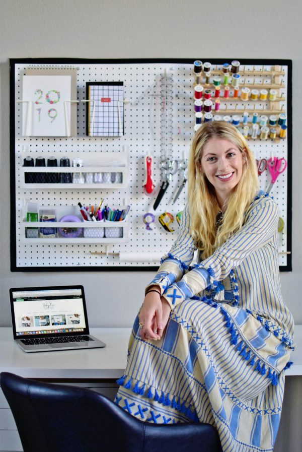 Sewing room storage and pegboard organization by The Style Safari