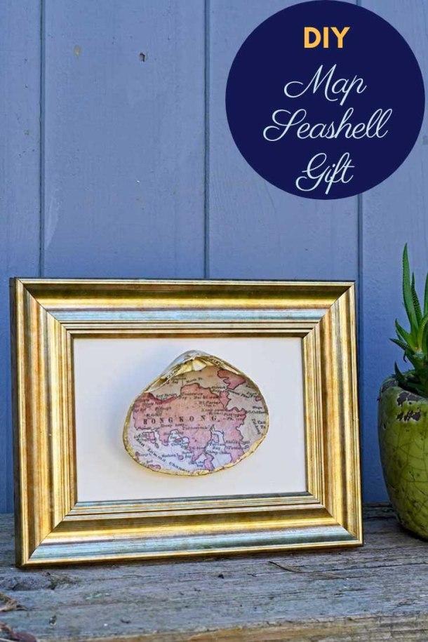 DIY seashell map #gift
