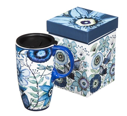 Indigo butterfly travel coffee mug gift #ad