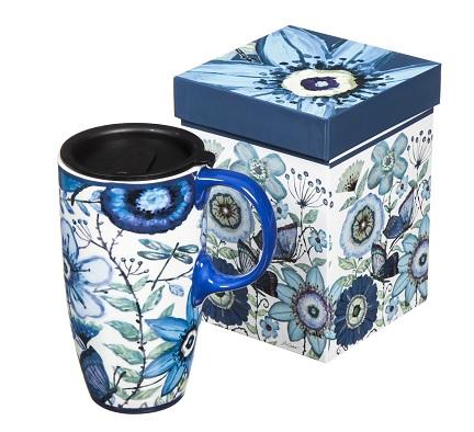 Indigo butterfly travel coffee mug gift #ad