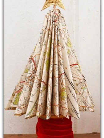 DIY Christmas trees made from maps