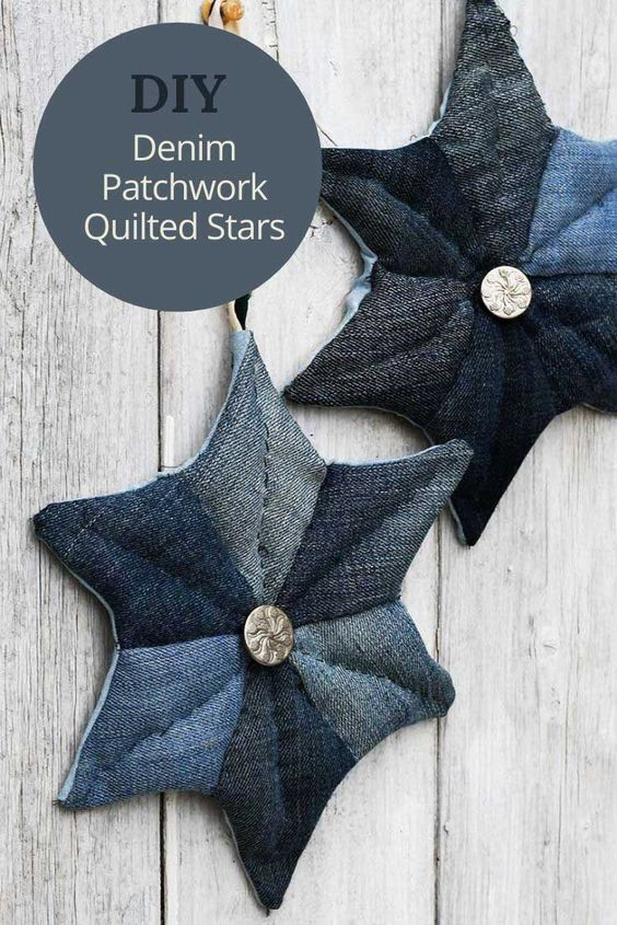 DIY Denim Patchword Quilted Stars from Pillarbox Blue