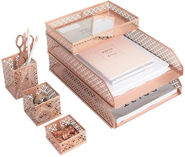 Rose gold office supply caddies and holders #ad