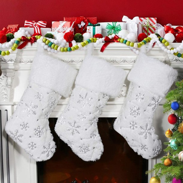 Pretty white holiday stockings #ad