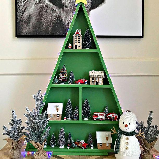 DIY Wood Christmas Tree Shelf