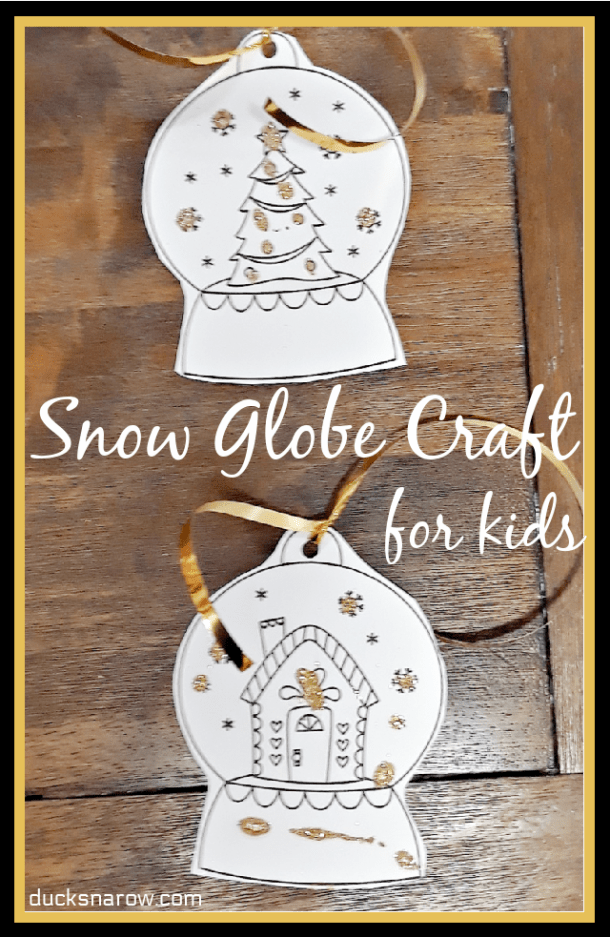 Easy snow globe craft for kids - white with gold glitter