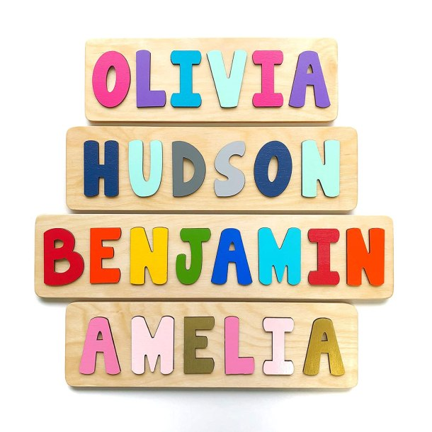 Handmade wooden name puzzle for kids #ad