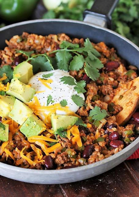 Ground beef burrito bowl skillet