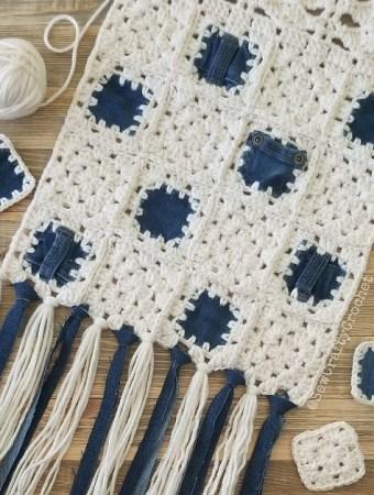 Denim and Crochet Scarf