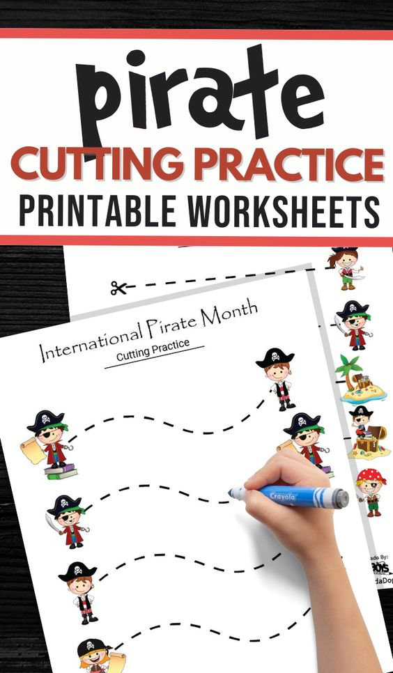 Cutting practice worksheets for kids