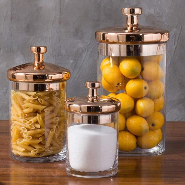 Copper and glass storage containers